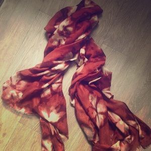 Accessories - Watercolor tie dye floral large sienna scarf